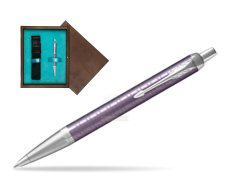 Parker IM Premium Dark Violet CT Ballpoint Pen  single wooden box  Wenge Single Turquoise
