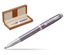 Parker IM Premium Dark Violet CT Rollerball Pen  in classic box brown