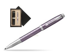 Parker IM Premium Dark Violet CT Rollerball Pen  single wooden box  Wenge Single Ecru