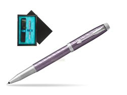 Parker IM Premium Dark Violet CT Rollerball Pen  single wooden box  Black Single Turquoise