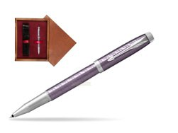 Parker IM Premium Dark Violet CT Rollerball Pen  single wooden box Mahogany Single Maroon