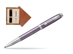 Parker IM Premium Dark Violet CT Rollerball Pen  single wooden box  Mahogany Single Ecru