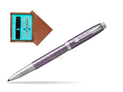 Parker IM Premium Dark Violet CT Rollerball Pen  single wooden box  Mahogany Single Turquoise