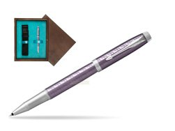 Parker IM Premium Dark Violet CT Rollerball Pen  single wooden box  Wenge Single Turquoise