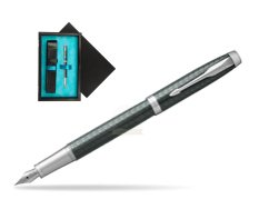 Parker IM Premium  Pale Green CT Fountain Pen  single wooden box  Black Single Turquoise