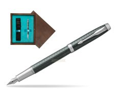 Parker IM Premium  Pale Green CT Fountain Pen  single wooden box  Wenge Single Turquoise