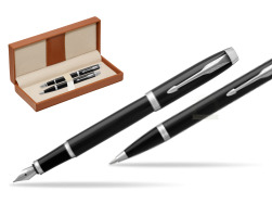 Parker IM Black CT 2016 Fountain Pen + Ballpoint Pen in a Gift Box  in classic box brown