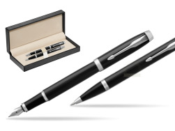 Parker IM Black CT 2016 Fountain Pen + Ballpoint Pen in a Gift Box  in classic box  pure black