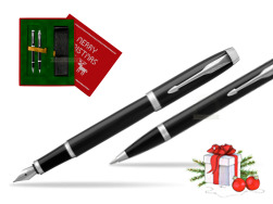 Parker IM Black CT 2016 Fountain Pen + Ballpoint Pen in a Gift Box in Christmas Gift Box red