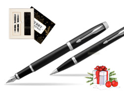 Parker IM Black CT 2016 Fountain Pen + Ballpoint Pen in a Gift Box w Christmas Gift Box Magic of Christmas