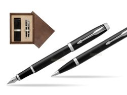 Parker IM Black CT 2016 Fountain Pen + Ballpoint Pen in a Gift Box  double wooden box Wenge Double Ecru