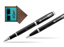 Parker IM Black CT 2016 Fountain Pen + Ballpoint Pen in a Gift Box  double wooden box Wenge Double Turquoise