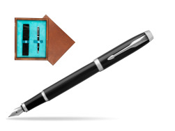 Parker IM Black CT Fountain Pen  single wooden box  Mahogany Single Turquoise
