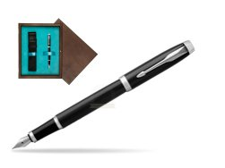 Parker IM Black CT Fountain Pen  single wooden box  Wenge Single Turquoise