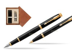 Parker IM Black GT Fountain Pen T2016 Fountain Pen + Ballpoint Pen in a Gift Box  double wooden box Mahogany Double Ecru