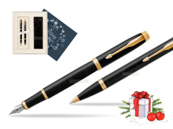 Parker IM Black GT Fountain Pen T2016 Fountain Pen + Ballpoint Pen in a Gift Box in Christmas Gift Box navy blue