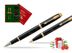 Parker IM Black GT Fountain Pen T2016 Fountain Pen + Ballpoint Pen in a Gift Box in Christmas Gift Box red