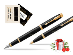 Parker IM Black GT Fountain Pen T2016 Fountain Pen + Ballpoint Pen in a Gift Box w Christmas Gift Box Magic of Christmas