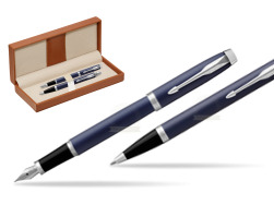 Parker IM BLUE CT Fountain Pen T2016 Fountain Pen + Ballpoint Pen in a Gift Box  in classic box brown