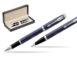 Parker IM BLUE CT Fountain Pen T2016 Fountain Pen + Ballpoint Pen in a Gift Box  in classic box  black