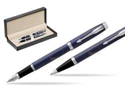 Parker IM BLUE CT Fountain Pen T2016 Fountain Pen + Ballpoint Pen in a Gift Box  in classic box  pure black
