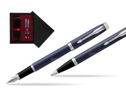 Parker IM BLUE CT Fountain Pen T2016 Fountain Pen + Ballpoint Pen in a Gift Box  double wooden box Black Double Maroon