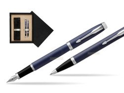 Parker IM BLUE CT Fountain Pen T2016 Fountain Pen + Ballpoint Pen in a Gift Box  double wooden box Black Double Ecru