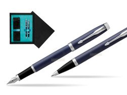 Parker IM BLUE CT Fountain Pen T2016 Fountain Pen + Ballpoint Pen in a Gift Box  double wooden box Black Double Turquoise