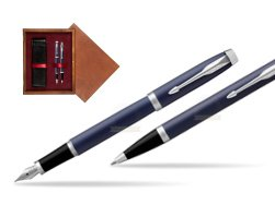 Parker IM BLUE CT Fountain Pen T2016 Fountain Pen + Ballpoint Pen in a Gift Box  double wooden box Mahogany Double Maroon