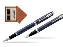 Parker IM BLUE CT Fountain Pen T2016 Fountain Pen + Ballpoint Pen in a Gift Box  double wooden box Mahogany Double Ecru
