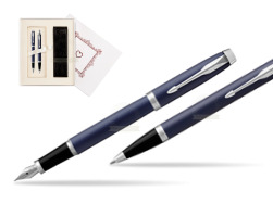 "Parker IM BLUE CT Fountain Pen T2016 Fountain Pen + Ballpoint Pen in a Gift Box  ""Pure Love"""
