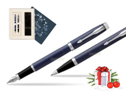 Parker IM BLUE CT Fountain Pen T2016 Fountain Pen + Ballpoint Pen in a Gift Box in Christmas Gift Box navy blue