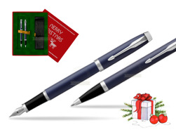 Parker IM BLUE CT Fountain Pen T2016 Fountain Pen + Ballpoint Pen in a Gift Box in Christmas Gift Box red