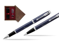 Parker IM BLUE CT Fountain Pen T2016 Fountain Pen + Ballpoint Pen in a Gift Box  double wooden box Wenge Double Maroon