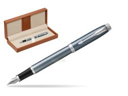 Parker IM Light Blue Grey CT Fountain Pen  in classic box brown
