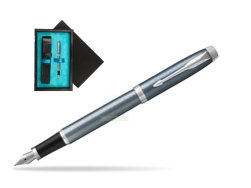 Parker IM Light Blue Grey CT Fountain Pen  single wooden box  Black Single Turquoise
