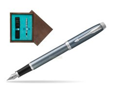 Parker IM Light Blue Grey CT Fountain Pen in single wooden box  Wenge Single Turquoise