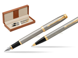 Parker IM Brushed Metal GT Fountain Pen T2016 Fountain Pen + Ballpoint Pen in a Gift Box  in classic box brown
