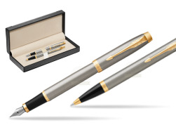 Parker IM Brushed Metal GT Fountain Pen T2016 Fountain Pen + Ballpoint Pen in a Gift Box  in classic box  black