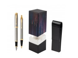 Parker IM Brushed Metal GT Fountain Pen T2016 Fountain Pen + Ballpoint Pen in a Gift Box  StandUP Crazy line