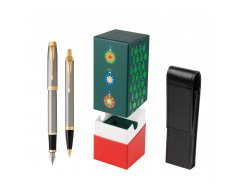 Parker IM Brushed Metal GT Fountain Pen T2016 Fountain Pen + Ballpoint Pen in a Gift Box in gift box StandUP Christmas Tree