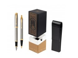 Parker IM Brushed Metal GT Fountain Pen T2016 Fountain Pen + Ballpoint Pen in a Gift Box  StandUP For Men Only