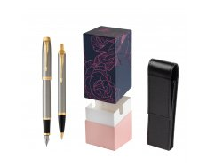 Parker IM Brushed Metal GT Fountain Pen T2016 Fountain Pen + Ballpoint Pen in a Gift Box  StandUP Roses