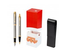 Parker IM Brushed Metal GT Fountain Pen T2016 Fountain Pen + Ballpoint Pen in a Gift Box w gift box StandUP Santa Claus