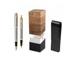 Parker IM Brushed Metal GT Fountain Pen T2016 Fountain Pen + Ballpoint Pen in a Gift Box in gift box StandUP Wood