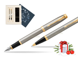 Parker IM Brushed Metal GT Fountain Pen T2016 Fountain Pen + Ballpoint Pen in a Gift Box  Christmas navy blue