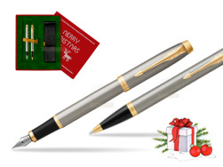 Parker IM Brushed Metal GT Fountain Pen T2016 Fountain Pen + Ballpoint Pen in a Gift Box  Christmas red