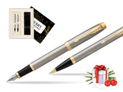 Parker IM Brushed Metal GT Fountain Pen T2016 Fountain Pen + Ballpoint Pen in a Gift Box  Magic of Christmas