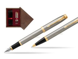 Parker IM Brushed Metal GT Fountain Pen T2016 Fountain Pen + Ballpoint Pen in a Gift Box  double wooden box Wenge Double Maroon