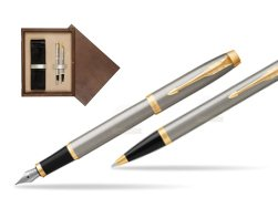 Parker IM Brushed Metal GT Fountain Pen T2016 Fountain Pen + Ballpoint Pen in a Gift Box  double wooden box Wenge Double Ecru